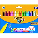 BiC Kids Plastidecor Crayons Colour Hard Long-lasting Sharpenable Vivid Assorted Ref 829772 [Pack of 24]