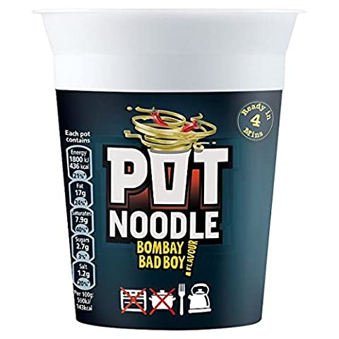 Pot Noodle - Nouilles instantanées Bombay Bad Boy - au curry épicé - lot de 2 boîtes de 90 g