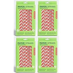 4 packs de pajitas de papel rojas con rayas blancas para beber (576 pajitas)
