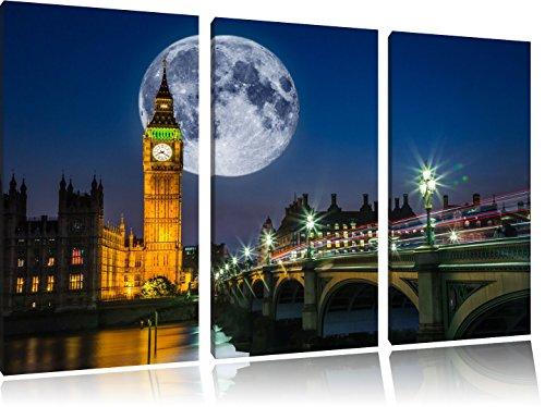 Big Ben vor großen Mond in London 3-Teiler Leinwandbild 120x80 Bild auf Leinwand, XXL riesige Bilder fertig gerahmt mit Keilrahmen, Kunstdruck auf Wandbild mit Rahmen, gänstiger als Gemälde oder Ölbild, kein Poster oder Plakat (Auf Dem Kirche Mond)