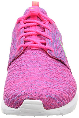 Nike Flyknit Rosherun, Chaussons Sneaker Homme Rose (Pink Flash/Flash Lime/Clb Pink)
