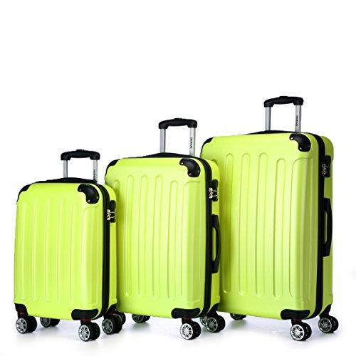 BEIBYE Koffer Farbauswahl!! 3 tlg. Reisekofferset Kofferset Trolley Hartschale (Grün)