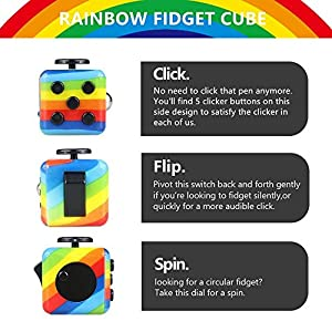 Rainbow Fidget Toy Cube Toy with Click Ball, Anti-Stress/Anti-anxiety Fidget Toys for Children, Teen, Student, Adult Stress Reliever