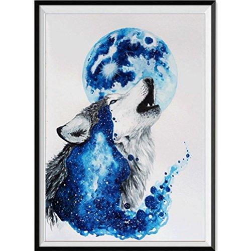 sunnymi 5D Diamant Full Malerei, Sonnenuntergang Diamant Zeichnung DIY Stickerei Painting Kreuz Stich Diamond Dekoration 30*30CM (Wolf und Mond, 30x40cm)