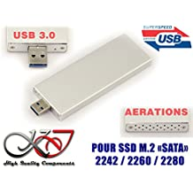 Kalea-Informatique–Llave USB caja para SSD M2A USB3(USB 3.0SuperSpeed)–para SSD M2SATA formato 223022422280–Caja Aluminio Coloris Silver–Con aerations