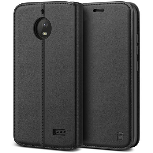 BEZ® Hülle für Moto E4 Handyhülle, Tasche Kompatibel für Motorola Moto E4Hülle Case Schutzhüllen aus Klappetui mit Kreditkartenhaltern, Ständer, Magnetverschluss, Schwarz