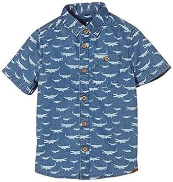 TOM TAILOR Kids - croco allover printed shirt/504, Camicia per bambini e ragazzi, blu (super stone blue denim + tint 1194), 134 (Taglia produttore: 128/134)