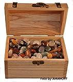 Schatztruhe aus Holz mit 1 kg echten getrommelten Edelsteinen