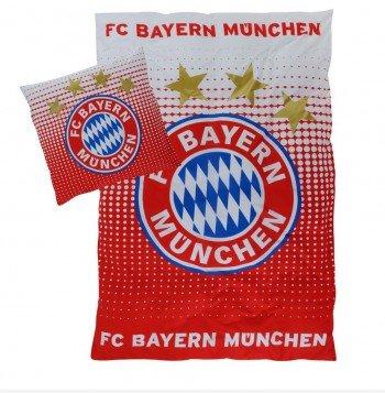 FC Bayern München Bettwäsche Logo Rot - Weiß 135x200 cm inkl. Kissenbezug 80x80 cm -