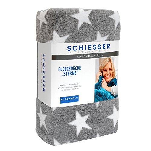 Schiesser Fleecedecke Sterne 150 x 200 cm grau / Wohndecke in versch. Farben
