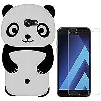Hcheg funda de silicona diseño negro panda para Samsung Galaxy A5 (2017) - Un diseño elegante y una protección óptima +1XProtector de pantalla