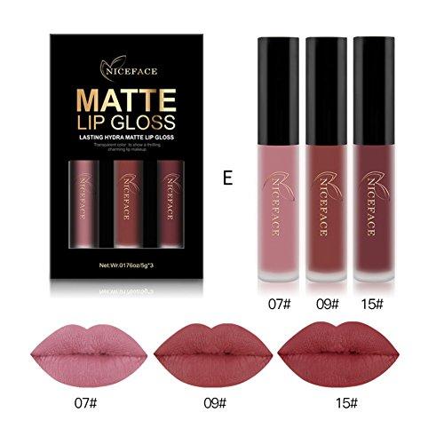 BOBORA 3 Pcs Matt Lipgloss Flüssig Lippenstift Langlebig Lippenstift Lip Make-Up Kosmetik -