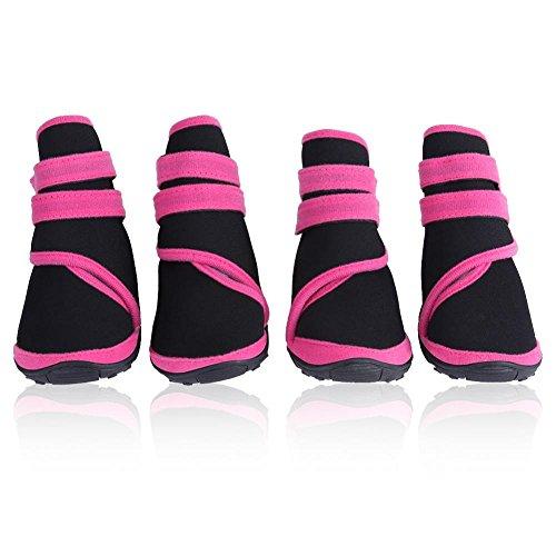 Filfeel Botas de perro 4Pcs, impermeables protectores de pata Zapatos de mascota perrito de invierno cálido calzado protector con suela resistente antideslizante(#2-Rosa)