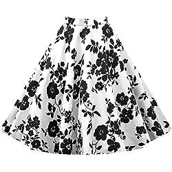 vkstar® para Mujer 50s Vintage Floral Swing Full Circle verano Casual Falda Corto Breve Retro Vintage vestidos Invisible cremallera multicolor En Blanco Y Negro X-Large