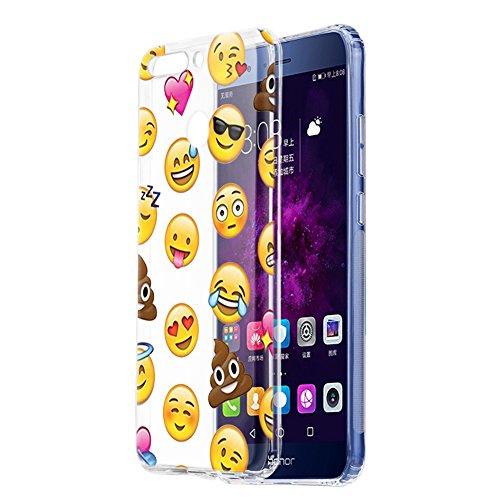 Hülle, Schutzhülle Silikon Transparent mit Muster Motiv Handyhülle [Ultra Dünn] Slim Stoßfest Weich TPU Bumper Case Backcover für Huawei Honor 9 Lite Smartphone (Emoji) ()