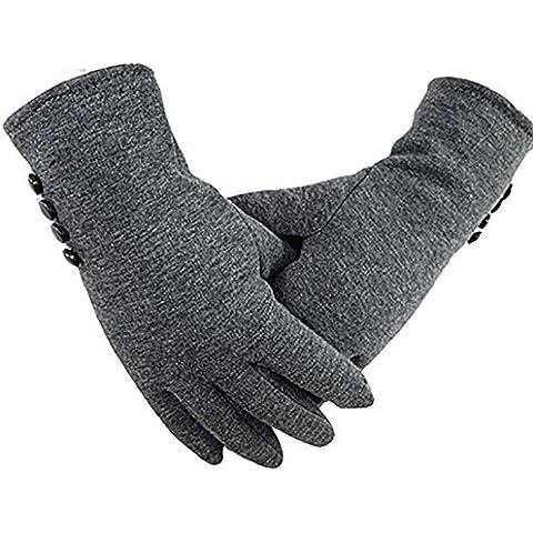 YONG Pantalla táctil de cuatro botones / / algodón de las señoras moda guantes cachemir cálido y felpa no se caiga para difundir la , gray