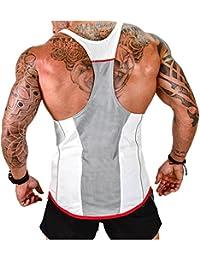 Vergiss para Hombre Muscle Gym Stringer Tank Top para Culturismo (White, M)