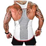 Herren Athletic lässig Tank top,T-Shirt Unterhemden, Ärmellos Weste, Muskelshirt,Fitness Shirt(Weitere Farben), White, L