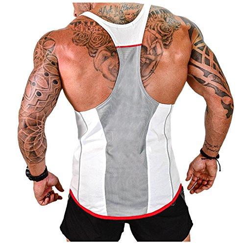 Herren Athletic lässig Tank top,T-Shirt Unterhemden, Ärmellos Weste, Muskelshirt,Fitness Shirt(Weitere Farben) (White, L)