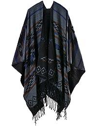 Mochoose y Del Poncho del Cabo del Mantón Bufanda de Punto Tela Escocesa de Tartán de la Cubierta del Abrigo de Invierno de la Franja Caliente Mujer