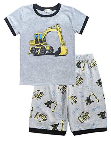 Little Hand Schlafanzug Jungen Dinosaurier Bagger Roboter Kinder Sommer Zweiteiliger Baumwolle Kurz Nachtwäsche, Bagger, 104 (HerstellerGröße: 110) (Für Urlaub Jungen Schlafanzug)