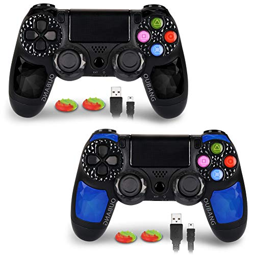 OUBANG Playstation DualShock 4 Controller PS4 Controller kabellose Fernbedienung mit Micro-USB-Ladekabel für Playstation 4/PS4 Pro/PS4 Slim/PC/PS TV (Royalblau) Mehrfarbig Black elf+Sapphire (Playstation 4 Remote)