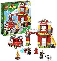 LEGO DUPLOTown CasermadeiPompieri, Luci e Suoni, Autopompa e 2 Figure dei Pompieri,Giocattoli per Bambini