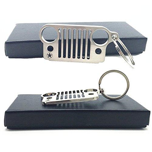 Preisvergleich Produktbild EP Jeep Grill Schlüsselanhänger - Qualitäts-Laser-Cut 304 Edelstahl, wird nie rosten, Valentinstag Geschenk! (5 Sterne)