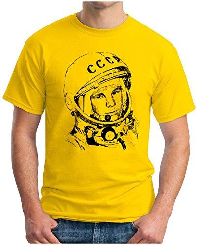 OM3 - JURI GAGARIN - T-Shirt Kosmonaut UDSSR 1962 Space Sojus Mond Mission Mars Weltraum, S - 5XL Gelb