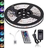 BOHAO RGB 5050 led strip 12V3A Netzteil IP65 Waterproof LED Strip Licht Streifen 5m Band Leiste mit 150 LEDs (SMD 5050) inkl+44Key Controller & Fernbedienung. (5M Waterproof LED light)