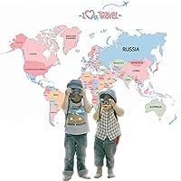 Dünya Haritası Ülkeler Atlası Siyasi Harita Ev ve Ofis Dekorasyonu Renkli PVC Duvar Sticker