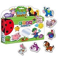 Roter Käfer Fridge magnets for kids FARM 31 pcs - Foam kids magnets - Animals toys for kids - Farm animals for toddlers - Farm toys