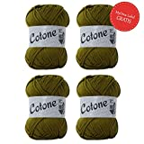 Lana Grossa Cotone * 4x Cotone oliv (Fb 049) + GRATIS MyOma Label* Baumwolle zum Häkeln und Stricken - Cotone Lana Grossa - 100% Baumwolle - grüne Baumwolle - Strickgarn - Häkelgarn - Sommerwolle
