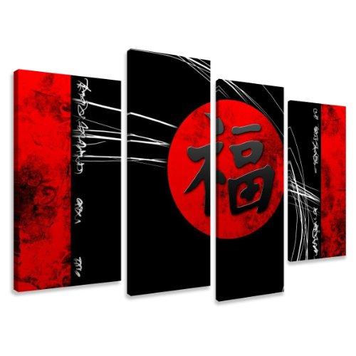 Visario Bild auf Leinwand der Deutschen Marke 130 x 80 cm 4 Teile chinesische Zeichen 6172 Bilder Kunstdrucke Wandbild