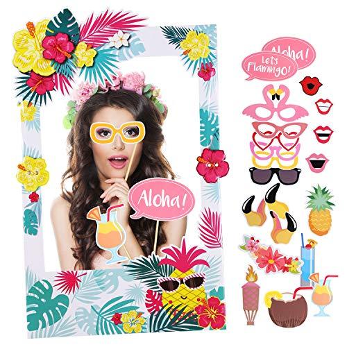 Howaf 21 Stück Hawaii Photo Booth Props Flamingo Brillen Masken Hut Foto Requisiten Hawaii Foto Accessoires mit Selfie Rahmen für Sommerfest Hochzeit Geburtstag Party Deko