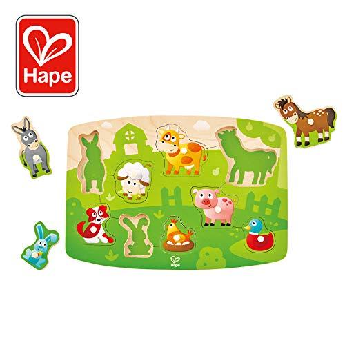 Hape International- Puzzle Encajable Granja, Multicolor (E1408)