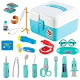 ThinkMax 20 Pcs Doctor Play Set, Plastic Dentist Kit, Medical Role Costume Play Kit Toys for Kids and Children (Blue)