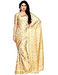 MIMOSA Art Silk Saree With Blouse Piece(4123-65-Sd-Hwt_Beige_Free Size)