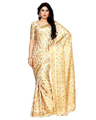 MIMOSA Art Silk Saree With Blouse Piece(4123-65-Sd-Hwt_Beige_Free Size)