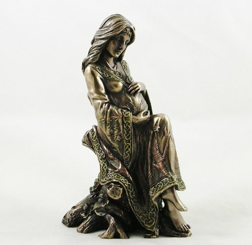 Pagan Earth Mother Pregnancy Figurine Wiccan Pregnant Woman Statue Bronzed Gothic Art Ornament