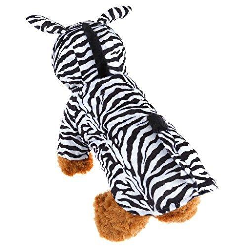 für Welpen Katze Kleine Hunde Samt Zebra Design Kostüm mit Kapuze Jumpsuit Coat für Halloween Weihnachten Festival Party Cosplay oder den täglichen Tragen (Verwenden Sie Ihre Eigene Kleidung Halloween Kostüme)