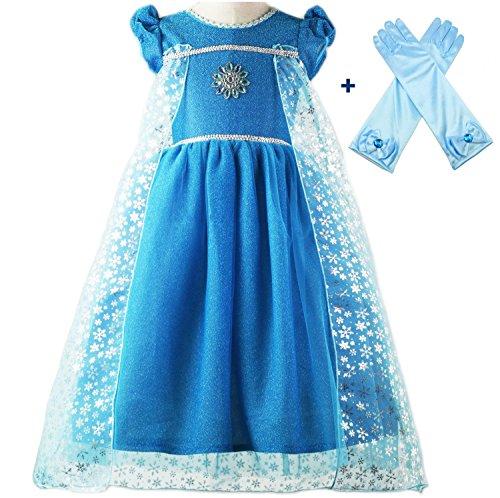 ALEAD Märchen prinzessin Elsa Kleidung Verkleidung Kurze Ärmel Blau Handschuhe (4-5)