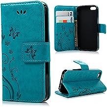 PU Leder Cover Tasche Case Schutz Hülle Handyhülle Bunt Painted Silikon Back Cover Bumper Schutz Etui Schale Schutzhüllen für iPhone 5 / 5s und iPhone SE