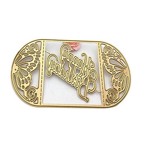 Or Scrapbooking Die Cuts carte Album Craft Décoration gaufrage Métal Scrapbooking DIY pour Joyeux anniversaire Cadeau de mariage par Einfachheit (Joyeux anniversaire)