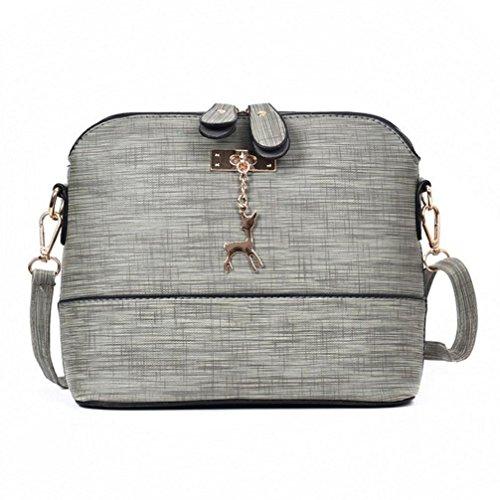 TUDUZ Schultertasche Damen Messenger Bags Vintage Kleine Shell Leder Handtasche Casual Paket (Grau)
