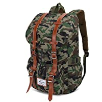 "Outdoor Travel Hiking Camping Rucksack Pack College School Backpack Shoulder Bags Fits 15"" Laptop Tablets (Camo)"
