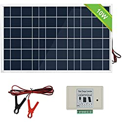 ECO-WORTHY 12V 10W Kit panneau solaire: 1 pc 10W Module Solaire avec Contrôleur de charge 3A avec Clip de batterie 12 V chargeur pour camping-car, caravane, bateau.