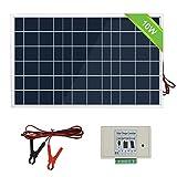 ECOWORTHY Kit de système de panneau solaire 10 W 12 V Module solaire avec contrôleur de charge 3 A avec câbles de batterie, chargeur de batterie 12 V pour bateau RV 10 W...