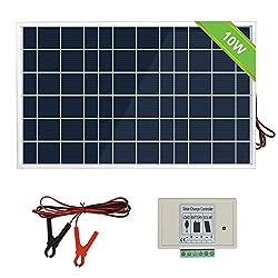 ECO-WORTHY 10 Watt Solar Panel System Kit: 1 Stück 10 W 12 V Solarmodul mit 3A-Laderegler mit Batteriekabeln 12-Volt-Ladegerät für Wohnmobile