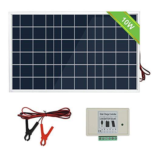 ECOWORTHY 10W 12V & 25W 18V Solarmodul-Kits mit 3A-Laderegler, Batterieclip für Wohnwagen, Wohnmobile, Boote oder jedes 12V-System